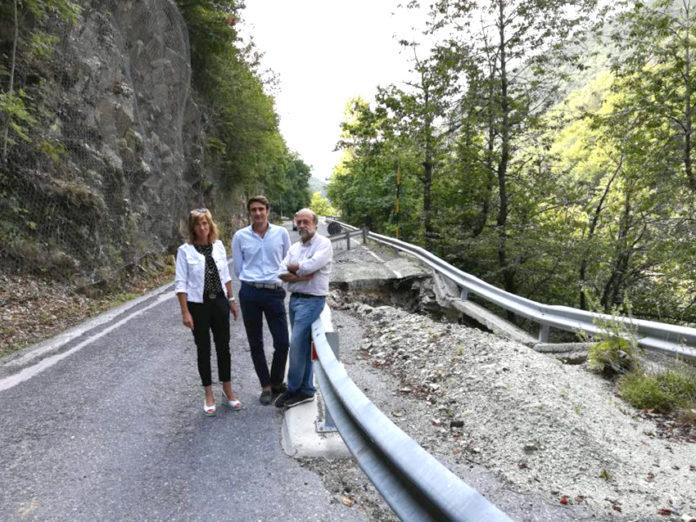 Sopralluogo sulla Provinciale franata in Valcasotto