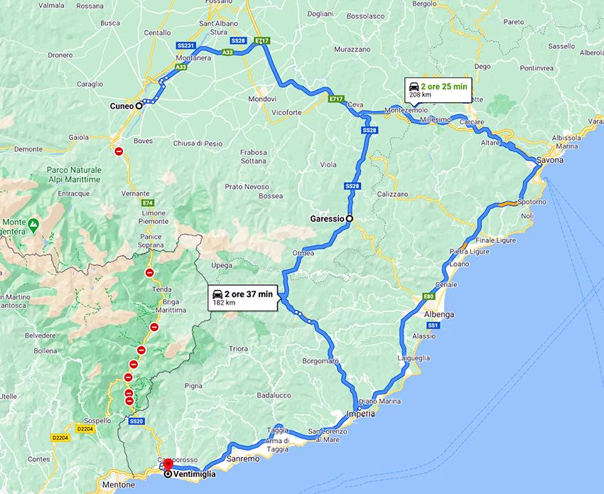 I due percorsi alternativi alla SS 20 che sono costretti a percorrere gli autotrasportatori per raggiungere Ventimiglia partendo da Cuneo